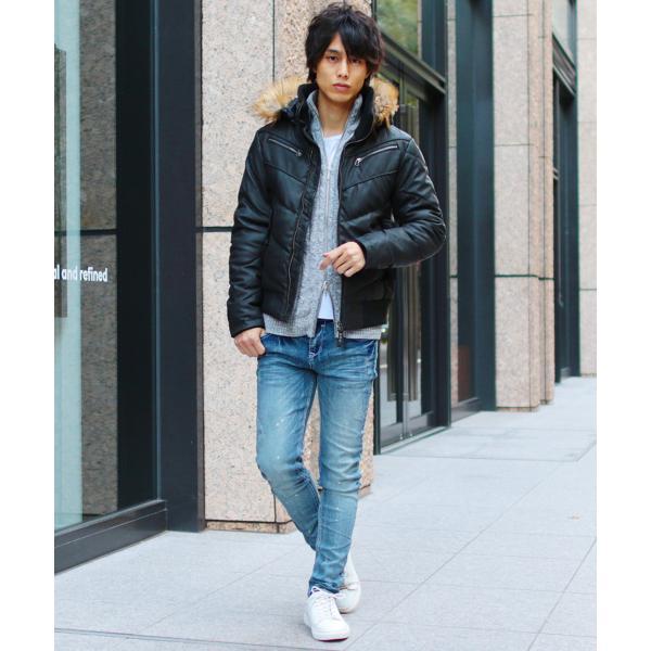 ダウンジャケット メンズ アウター ファー付き WET-PU レザー 防寒 秋冬|spu|14