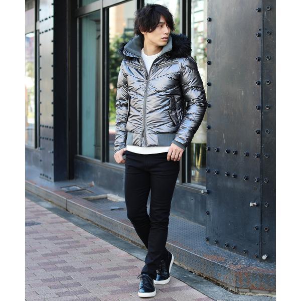 ダウンジャケット メンズ アウター ファー付き WET-PU レザー 防寒 秋冬|spu|18