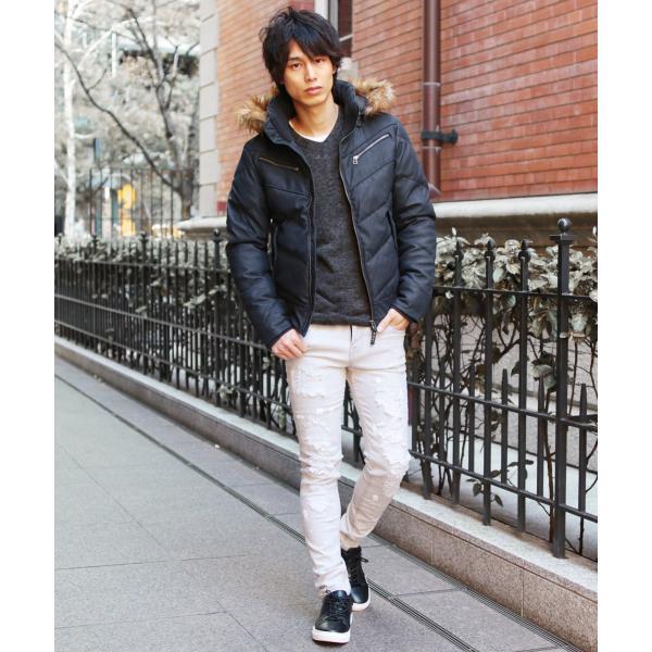 ダウンジャケット メンズ アウター ファー付き WET-PU レザー 防寒 秋冬|spu|09