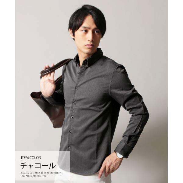 シャツ メンズ TR素材 ストレッチ モード ボタンダウン 長袖シャツ SPU スプ|spu|04