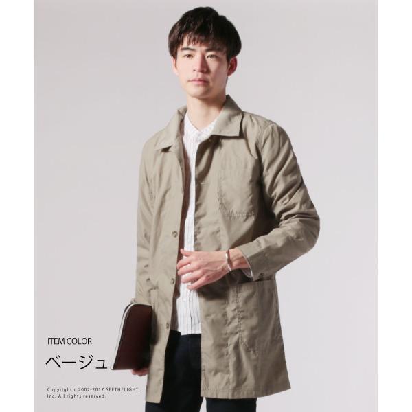 メンズ 春 秋 メンズファッション タイプライター スリム ショップ コート ライト アウター ロング シャツ SPU スプ|spu|03