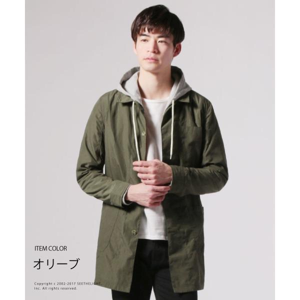 メンズ 春 秋 メンズファッション タイプライター スリム ショップ コート ライト アウター ロング シャツ SPU スプ|spu|05