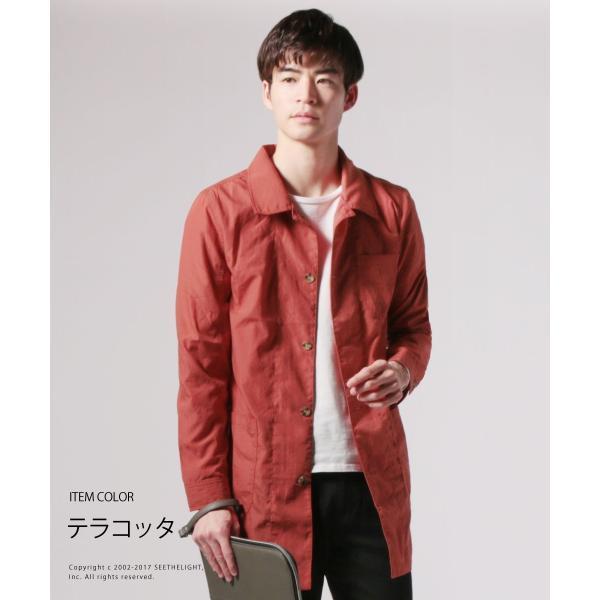 メンズ 春 秋 メンズファッション タイプライター スリム ショップ コート ライト アウター ロング シャツ SPU スプ|spu|07