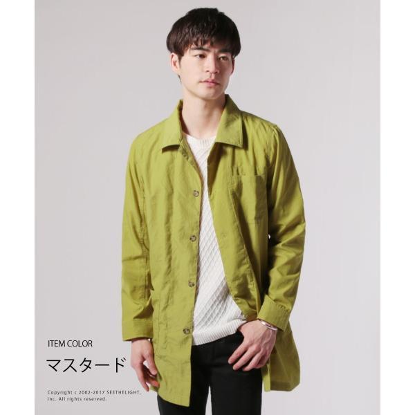 メンズ 春 秋 メンズファッション タイプライター スリム ショップ コート ライト アウター ロング シャツ SPU スプ|spu|08