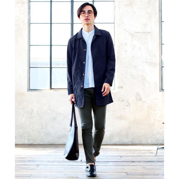 メンズ 春 秋 メンズファッション タイプライター スリム ショップ コート ライト アウター ロング シャツ SPU スプ|spu|09