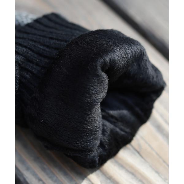 【手袋 メンズ】本革 スマホ 手袋 男性 レザー 羊革 豚革 ボア裏地 裏起毛 リブ ニット グローブ スマートフォン対応 spu 12