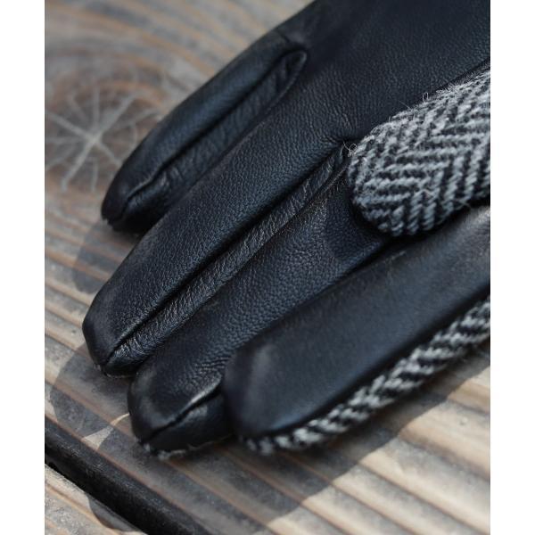 【手袋 メンズ】本革 スマホ 手袋 男性 レザー 羊革 豚革 ボア裏地 裏起毛 リブ ニット グローブ スマートフォン対応 spu 10