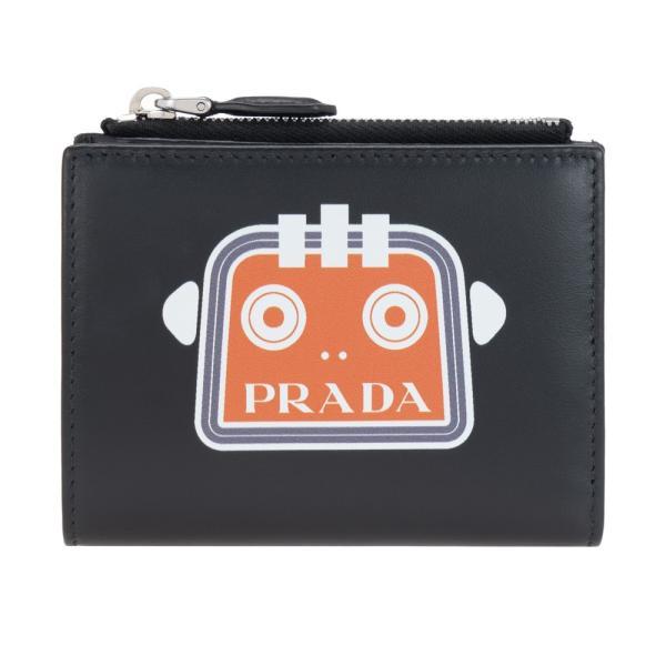 プラダ財布二つ折り財布小銭入れ付きメンズブラックロボットPRADA1ML0232CC6F0U37CITYSPORTBILNERO