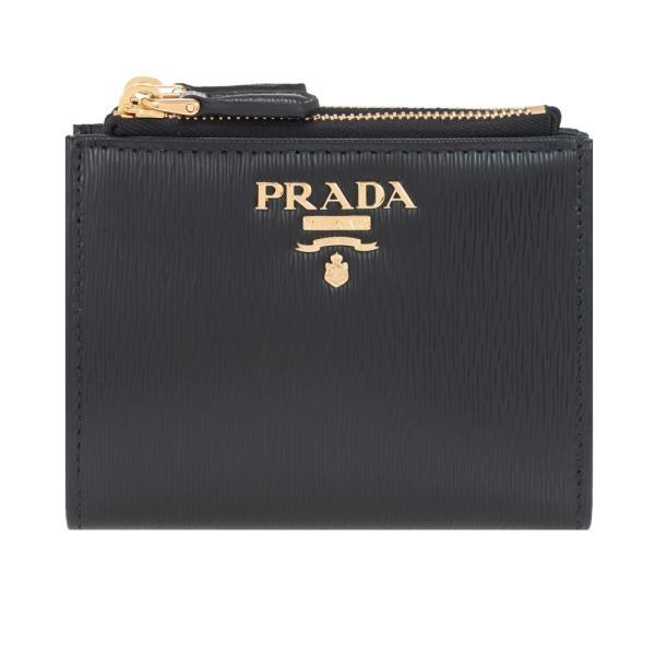 プラダ財布二つ折り財布ブラックPRADA1ML0242B6PF0002VITELLOMOVENEROレザー革新品正規品