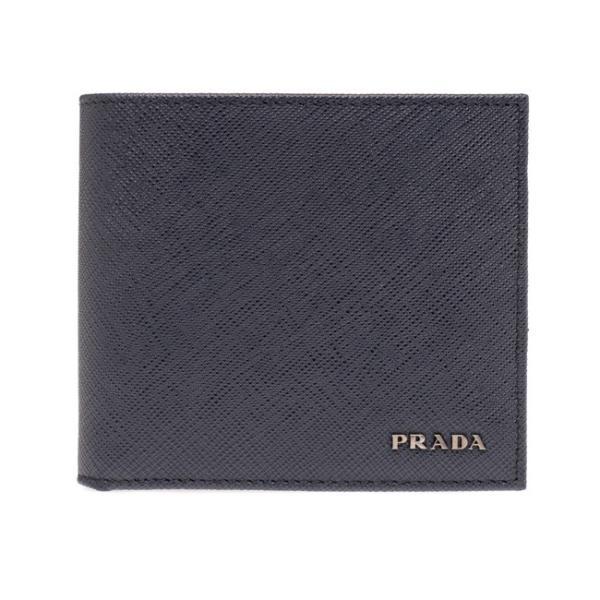 プラダPRADA財布二つ折りメンズネイビー/グレーバイカラー2MO738C5SF0DV1SAFFIANOBICOLOR