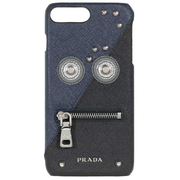 プラダPRADAiphone7+iphone8+アイフォンケーススマホレザー2ZH0362EEDLF0216ネイビー/ブラックS