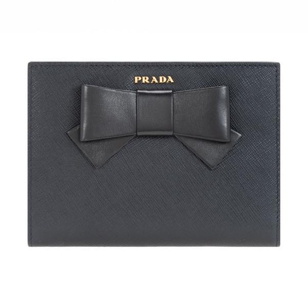 プラダ財布二つ折り財布PRADAレディースブラックサフィアーノ