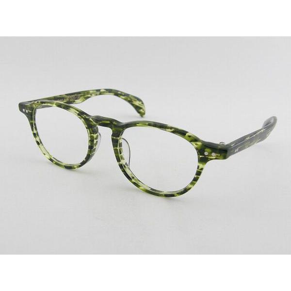 tsetse ツェツェ Boston-7-47 メガネフレーム グリーン 眼鏡 レトロ めがね 男女兼用 クラシカル ボストン シンプル 度付可 ケース付 デミ 丸型 柄物