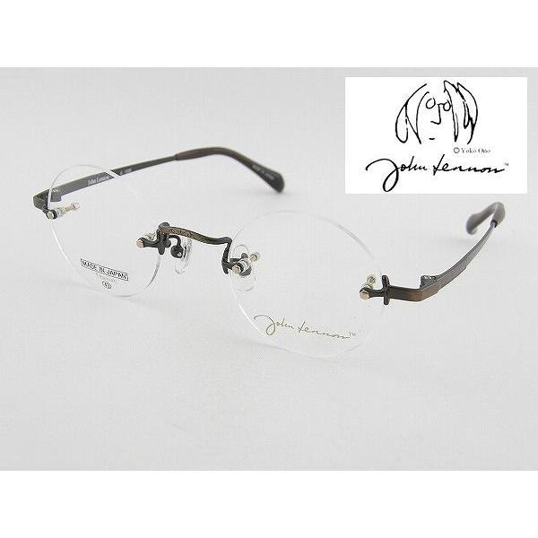 ジョンレノン メガネフレーム JL1006-4 日本製  眼鏡 めがね チタン 軽量 丸メガネ レトロ 国産 知的 クラシカル クラシック ツーポ 縁なし 昭和