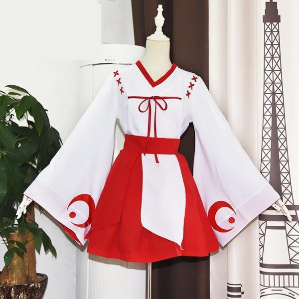 ハロウィン 仮装  みこ服  和服 コスプレ衣装 萌え 上着+スカート+ストッキング+バニエ 4点セット イベント  コスチューム|srs-h