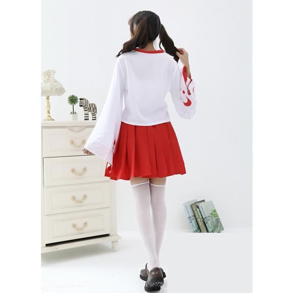 ハロウィン 仮装  みこ服  和服 コスプレ衣装 萌え 上着+スカート+ストッキング+バニエ 4点セット イベント  コスチューム|srs-h|04