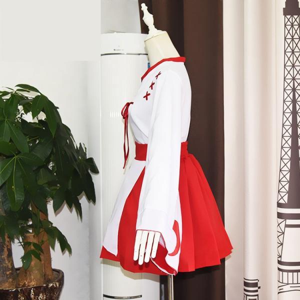 ハロウィン 仮装  みこ服  和服 コスプレ衣装 萌え 上着+スカート+ストッキング+バニエ 4点セット イベント  コスチューム|srs-h|06