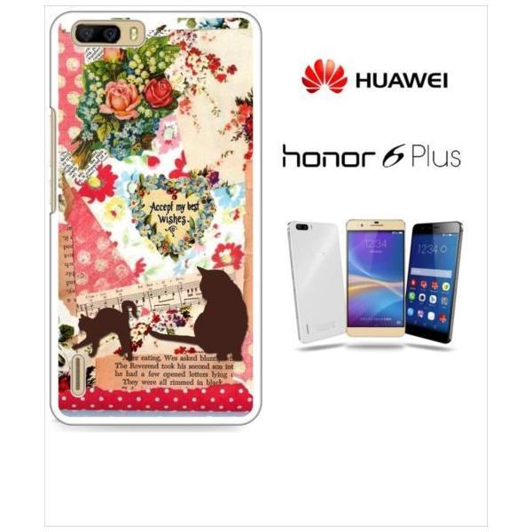 honor6plus オーナー 楽天モバイル ホワイトハードケース カバー ジャケット ca535 猫 ペーパークラフト レター 花柄 楽譜