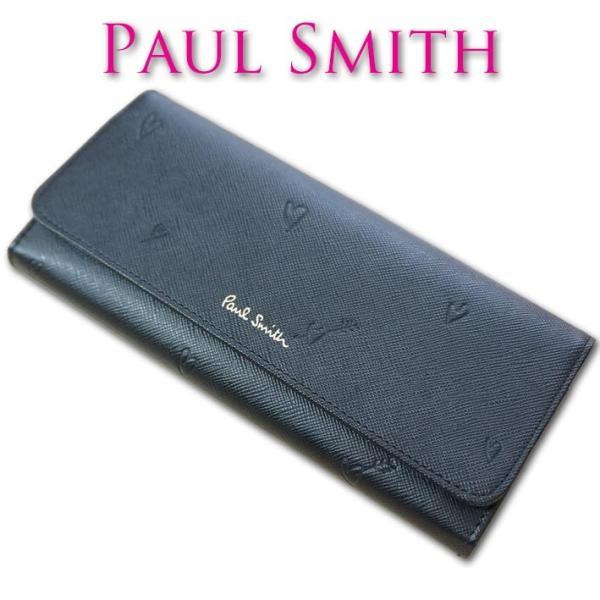 0f650769f133 ポールスミス Paul Smith スミシーハート 牛革 長財布 レディース ブラック 黒の画像