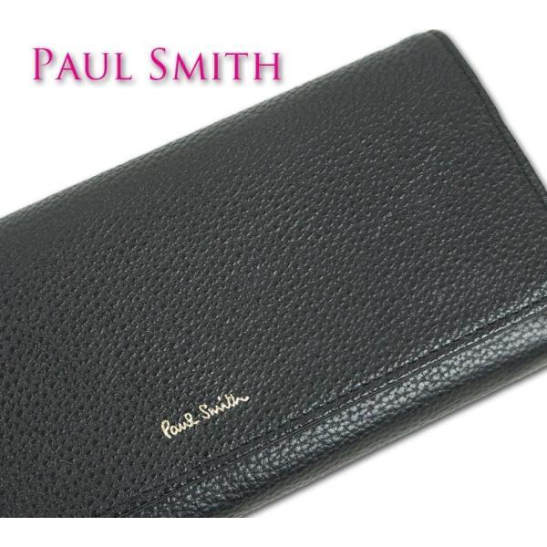ポールスミス Paul Smith 牛革 グレイニー 長財布 レディース ブラック 黒