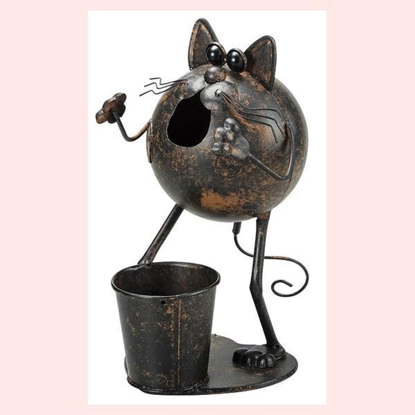 『ブリキ』ポット付きネコ丸型ガーデニングオブジェ sshana