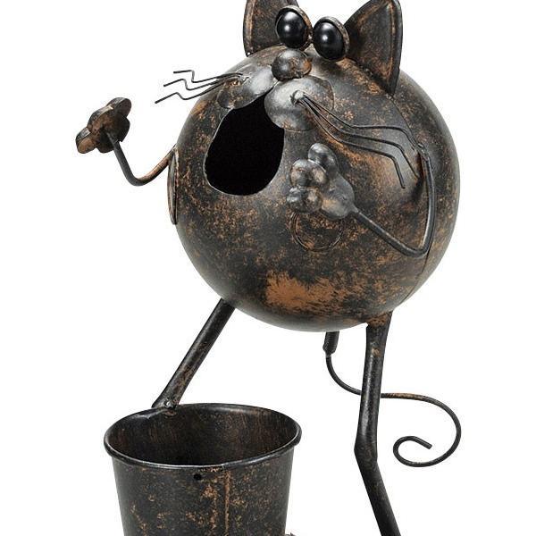 『ブリキ』ポット付きネコ丸型ガーデニングオブジェ sshana 02