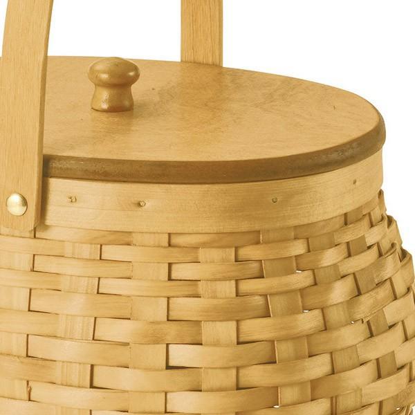 『ウッドチップ』蓋付き楕円タイプバスケット(片手持ち) sshana 02