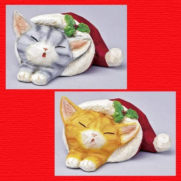 『クリスマス』レジン製カービングキャット(スリープ)/2種類|sshana
