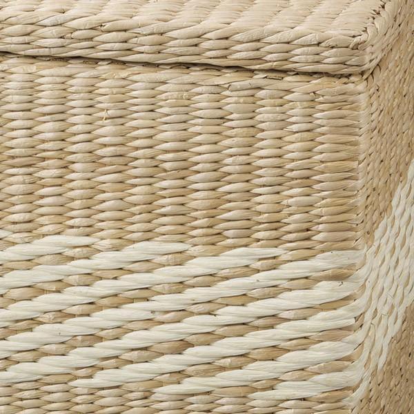 『蒲草』蓋・布付き四角タイプ収納ボックス2Pセット/ホワイト|sshana|02