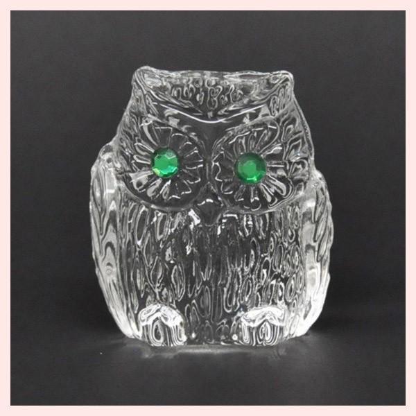 フェイククリスタルガラス製のミニオブジェ/ふくろう|sshana