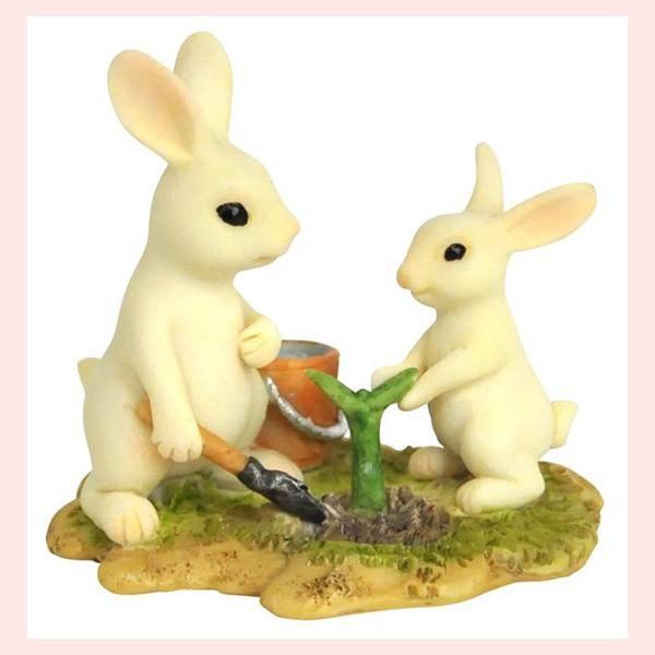 レジン製ウサギのミニオブジェ(植木) sshana