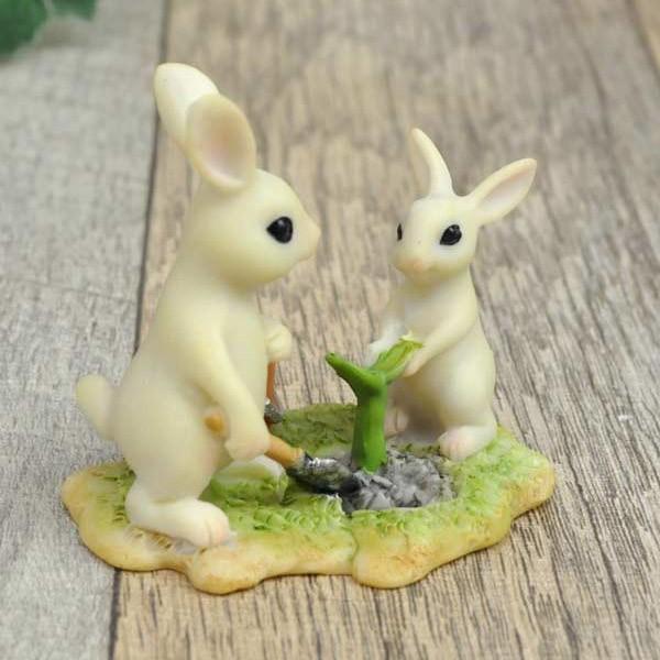 レジン製ウサギのミニオブジェ(植木) sshana 04