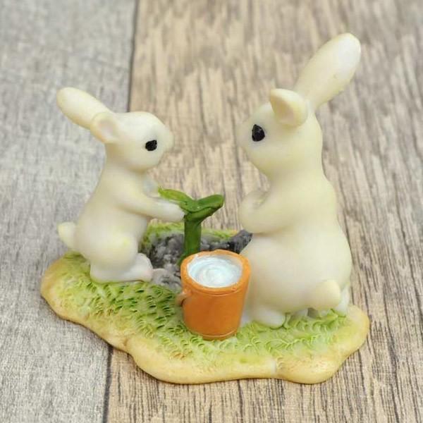 レジン製ウサギのミニオブジェ(植木) sshana 05