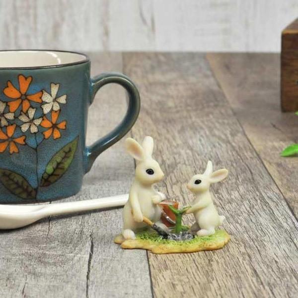 レジン製ウサギのミニオブジェ(植木) sshana 06