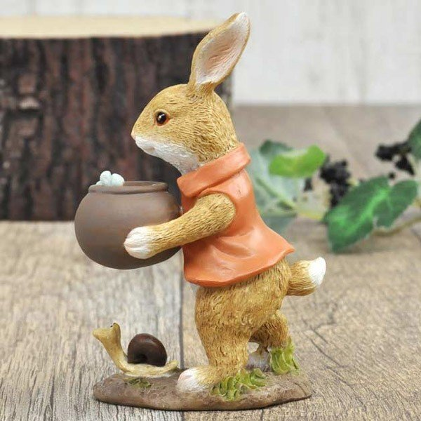 レジン製ウサギのミニオブジェ(水やり)|sshana|05