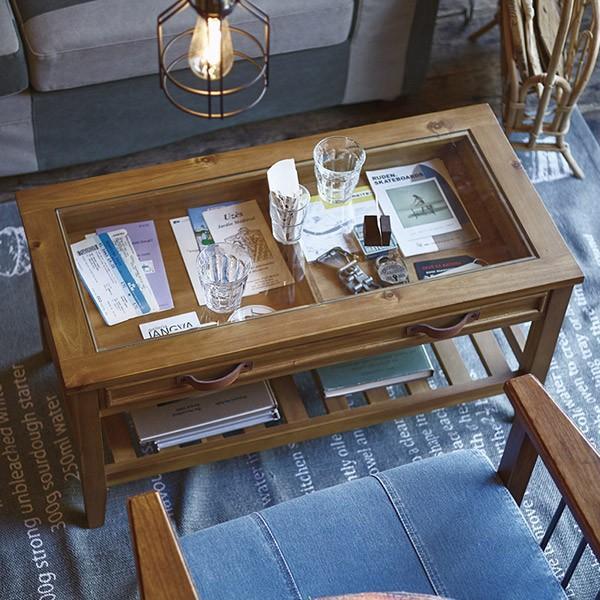 アカシア製ガラスコレクションテーブル(GT-871)|sshana|11