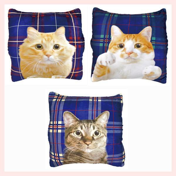猫のチェック柄クッション(手入れ可能)/3種類 sshana