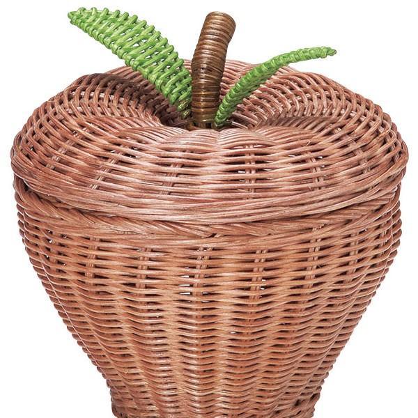 『ラタン』りんご型の蓋付き小物入れ|sshana|02