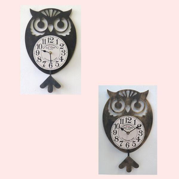 フクロウの振り子時計/2種類|sshana