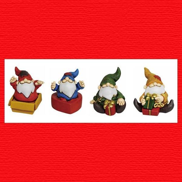 『クリスマス』レジン製の置物/プレゼントサンタ(アソート4Pセット) sshana