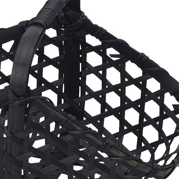 『竹』四角タイプ小物入れ(片手持ち/黒)「20×12×10cm」3Pセット|sshana|02