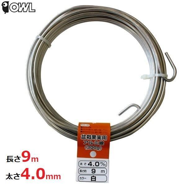 アルミ線 カラー 針金 ワイヤー シルバー 白 300g 太さ4.0mm 長さ約9m