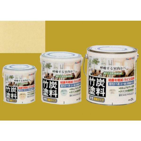 アトムハウスペイント つやけし水性塗料 アトム竹炭塗料  色:炭調ベージュ 0.7L
