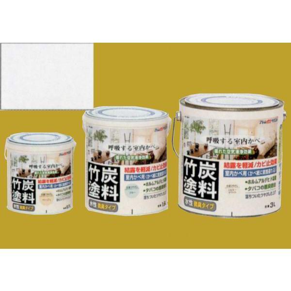 アトムハウスペイント つやけし水性塗料 アトム竹炭塗料  色:炭調ホワイト 1.6L