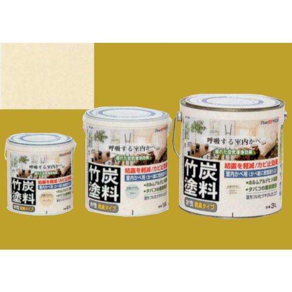 アトムハウスペイント つやけし水性塗料 アトム竹炭塗料  色:炭調ミルキーホワイト 1.6L