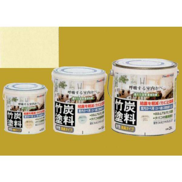 アトムハウスペイント つやけし水性塗料 アトム竹炭塗料  色:炭調レモンホワイト 1.6L