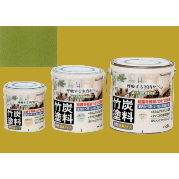 アトムハウスペイント つやけし水性塗料 アトム竹炭塗料  色:炭調うぐいす 0.7L