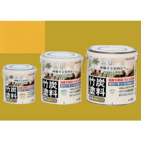 アトムハウスペイント つやけし水性塗料 アトム竹炭塗料  色:炭調銀杏色(いちょういろ) 1.6L