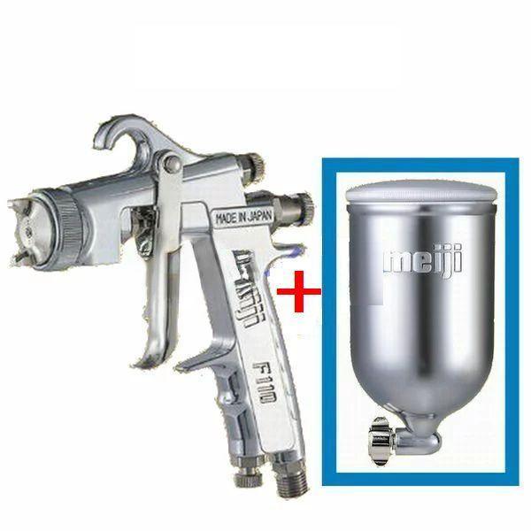 (数量限定)(K)明治(meiji)スプレーガン F110-G15 塗料カップ4GDセット 重力式 ノズル口径:1.5mm