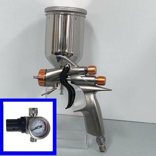 (K.V)明治(meiji)スプレーガン FINER-FORCE R 塗料カップ4GF-U・手元圧力 計付きセット 重力式 ノズル口径:1.4mm